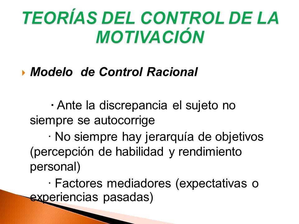 Modelo de Control Racional · Ante la discrepancia el sujeto no siempre se autocorrige · No siempre hay jerarquía de objetivos (percepción de habilidad