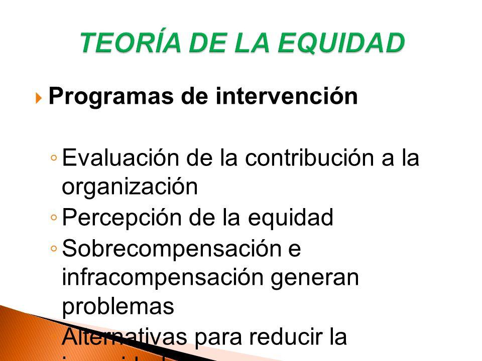 Programas de intervención Evaluación de la contribución a la organización Percepción de la equidad Sobrecompensación e infracompensación generan probl