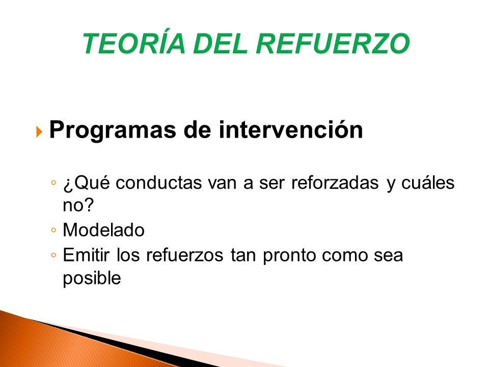 Programas de intervención ¿Qué conductas van a ser reforzadas y cuáles no? Modelado Emitir los refuerzos tan pronto como sea posible