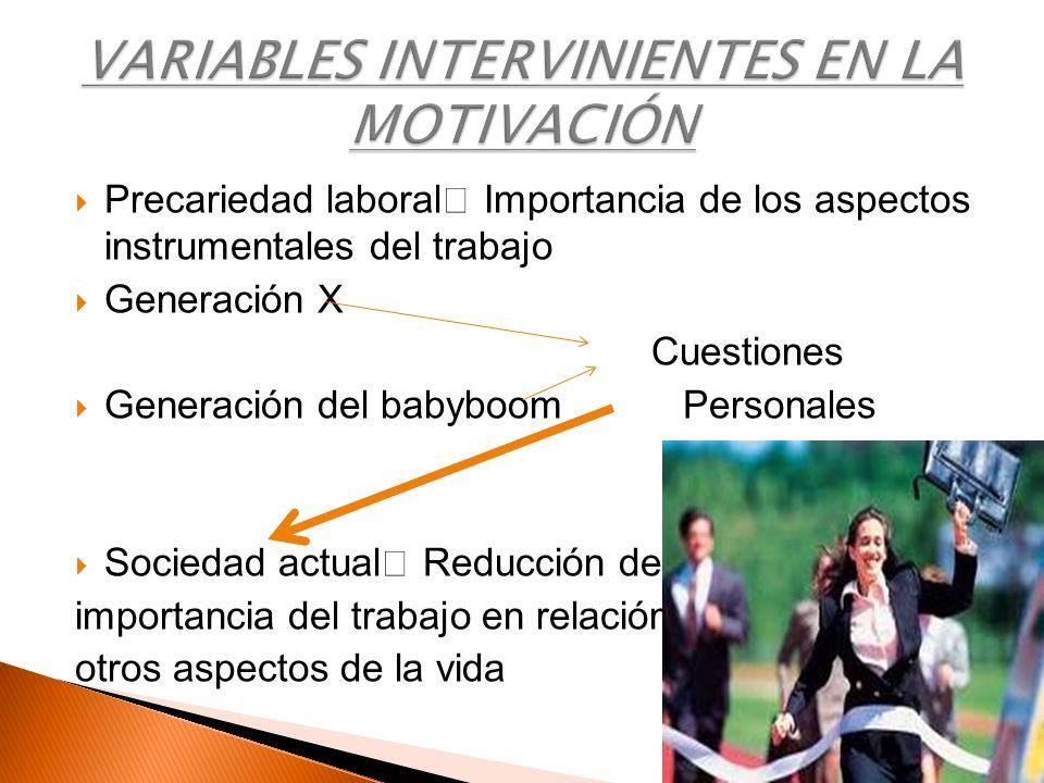 Precariedad laboral Importancia de los aspectos instrumentales del trabajo Generación X Cuestiones Generación del babyboom Personales Sociedad actual