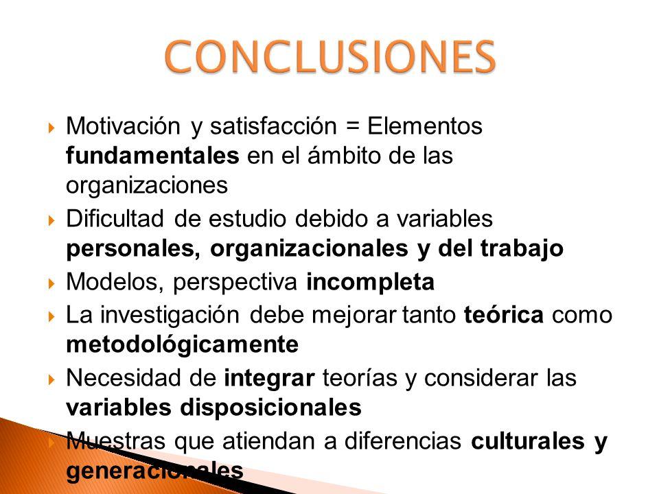 Motivación y satisfacción = Elementos fundamentales en el ámbito de las organizaciones Dificultad de estudio debido a variables personales, organizaci