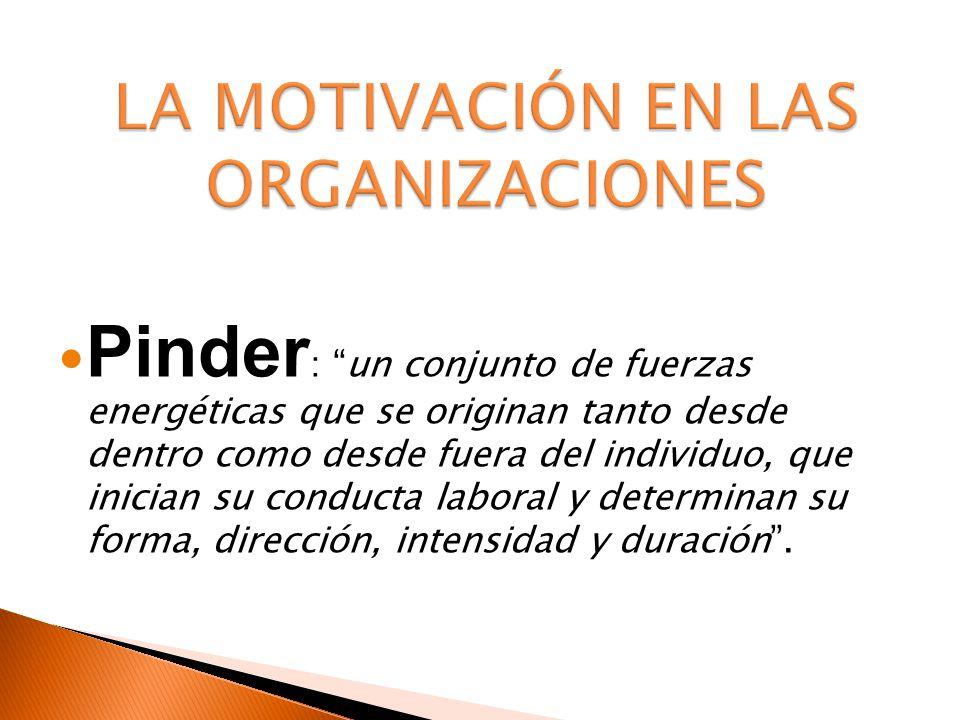 Pinder : un conjunto de fuerzas energéticas que se originan tanto desde dentro como desde fuera del individuo, que inician su conducta laboral y deter