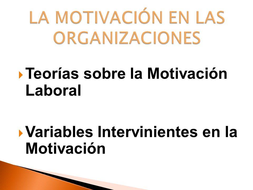 Teorías sobre la Motivación Laboral Variables Intervinientes en la Motivación