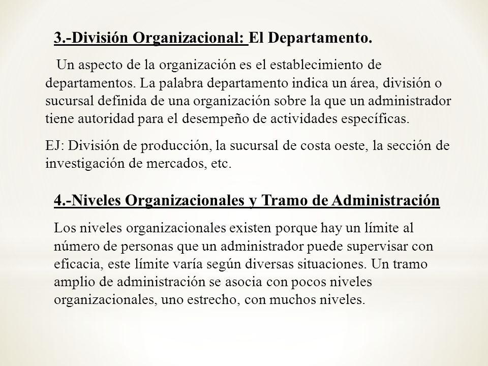 Un aspecto de la organización es el establecimiento de departamentos. La palabra departamento indica un área, división o sucursal definida de una orga