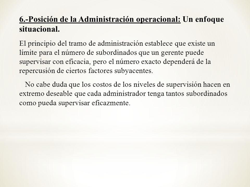 6.-Posición de la Administración operacional: Un enfoque situacional. El principio del tramo de administración establece que existe un límite para el