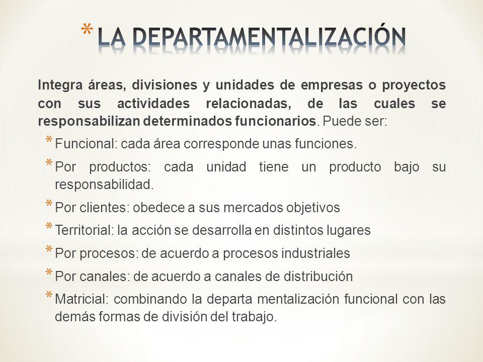 Integra áreas, divisiones y unidades de empresas o proyectos con sus actividades relacionadas, de las cuales se responsabilizan determinados funcionar