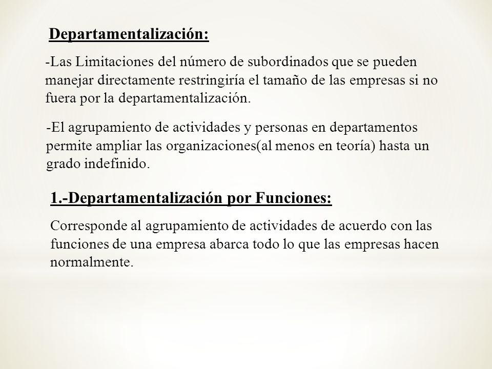 Departamentalización: -Las Limitaciones del número de subordinados que se pueden manejar directamente restringiría el tamaño de las empresas si no fue