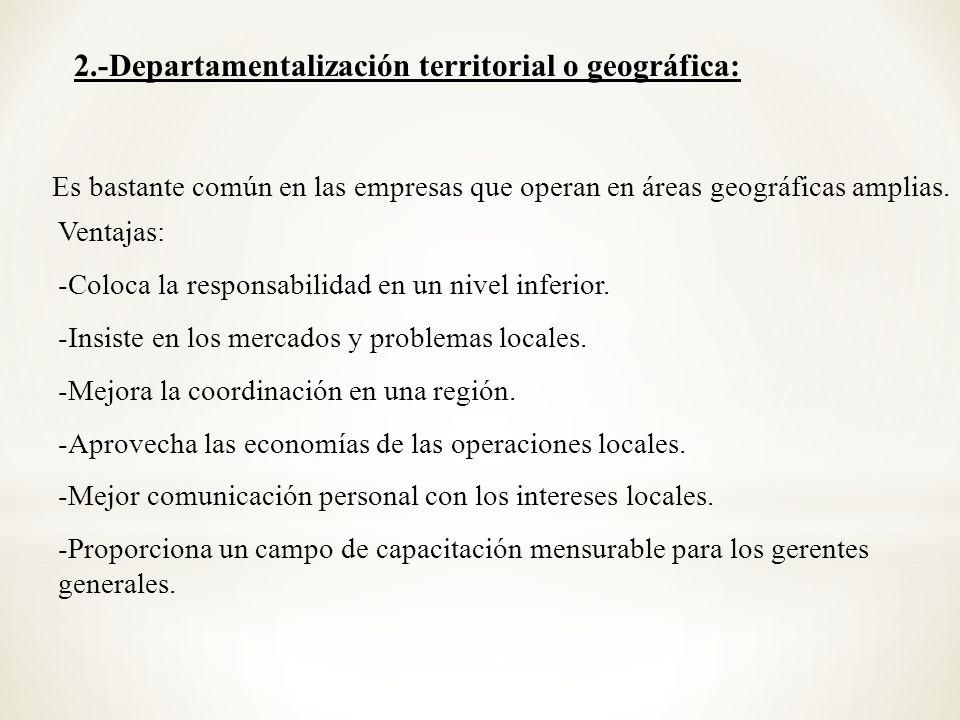 2.-Departamentalización territorial o geográfica: Es bastante común en las empresas que operan en áreas geográficas amplias. Ventajas: -Coloca la resp