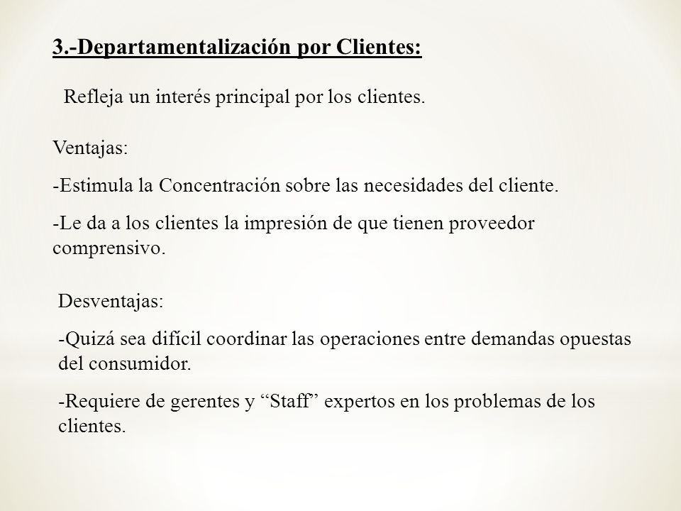 Refleja un interés principal por los clientes. Ventajas: -Estimula la Concentración sobre las necesidades del cliente. -Le da a los clientes la impres