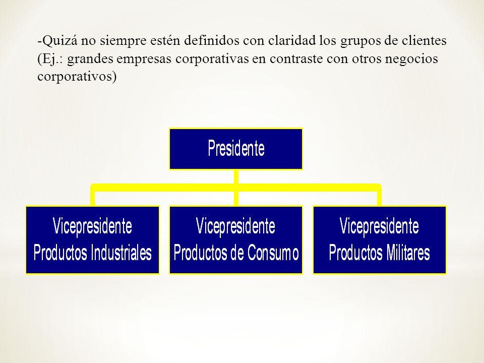 -Quizá no siempre estén definidos con claridad los grupos de clientes (Ej.: grandes empresas corporativas en contraste con otros negocios corporativos