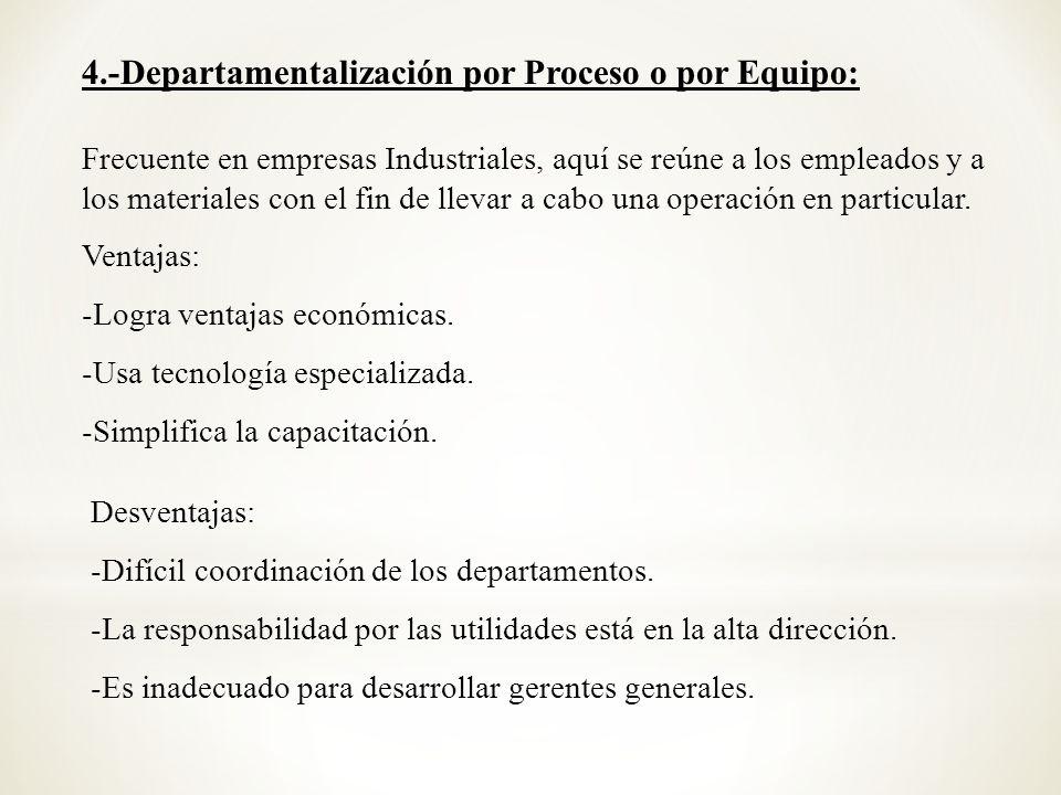 4.-Departamentalización por Proceso o por Equipo: Frecuente en empresas Industriales, aquí se reúne a los empleados y a los materiales con el fin de l