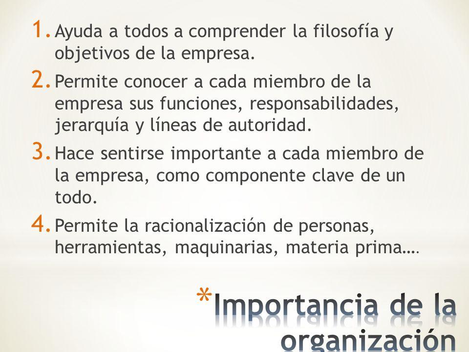 Un aspecto de la organización es el establecimiento de departamentos.