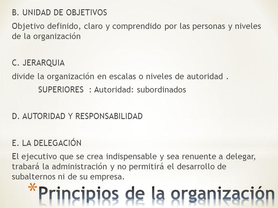 B. UNIDAD DE OBJETIVOS Objetivo definido, claro y comprendido por las personas y niveles de la organización C. JERARQUIA divide la organización en esc
