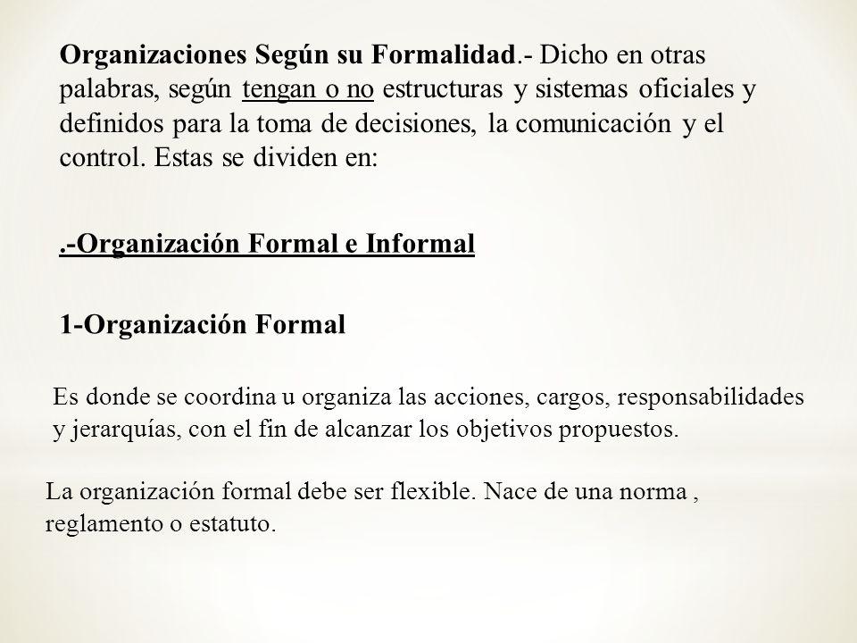 Organizaciones Formales: Este tipo de organizaciones se caracteriza por tener estructuras y sistemas oficiales y definidos para la toma de decisiones, la comunicación y el control.