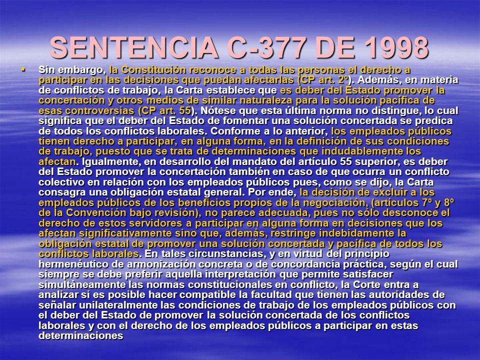 SENTENCIA C-377 DE 1998 Sin embargo, la Constitución reconoce a todas las personas el derecho a participar en las decisiones que puedan afectarlas (CP