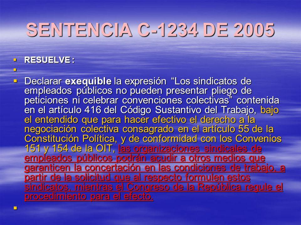 SENTENCIA C-1234 DE 2005 RESUELVE : RESUELVE : Declarar exequible la expresión Los sindicatos de empleados públicos no pueden presentar pliego de peticiones ni celebrar convenciones colectivas contenida en el artículo 416 del Código Sustantivo del Trabajo, bajo el entendido que para hacer efectivo el derecho a la negociación colectiva consagrado en el artículo 55 de la Constitución Política, y de conformidad con los Convenios 151 y 154 de la OIT, las organizaciones sindicales de empleados públicos podrán acudir a otros medios que garanticen la concertación en las condiciones de trabajo, a partir de la solicitud que al respecto formulen estos sindicatos, mientras el Congreso de la República regule el procedimiento para el efecto.