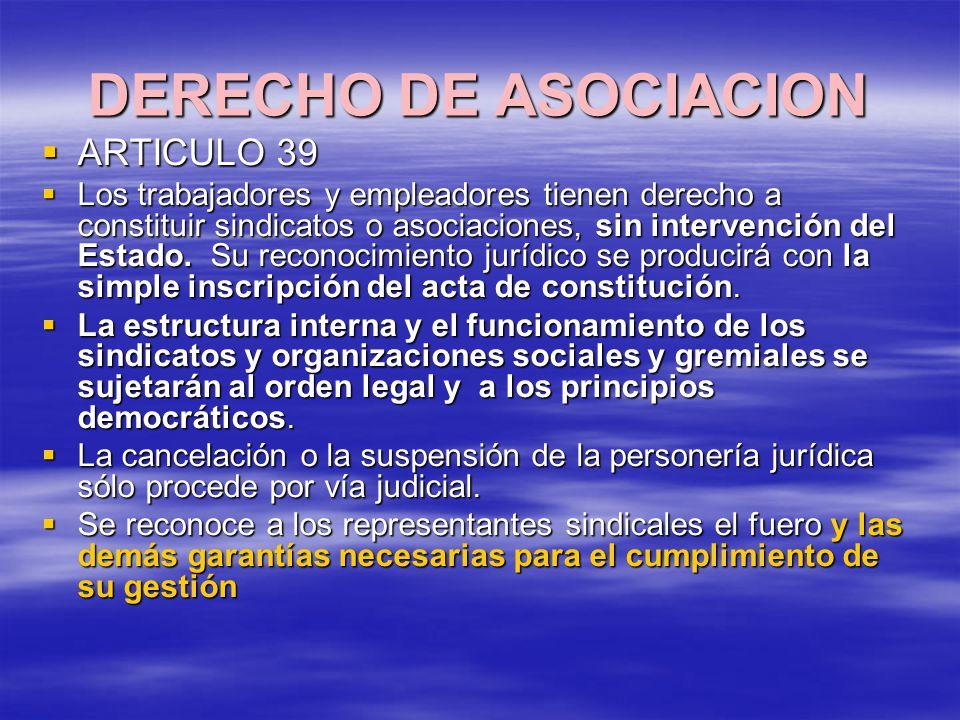 DERECHO DE ASOCIACION ARTICULO 39 ARTICULO 39 Los trabajadores y empleadores tienen derecho a constituir sindicatos o asociaciones, sin intervención d