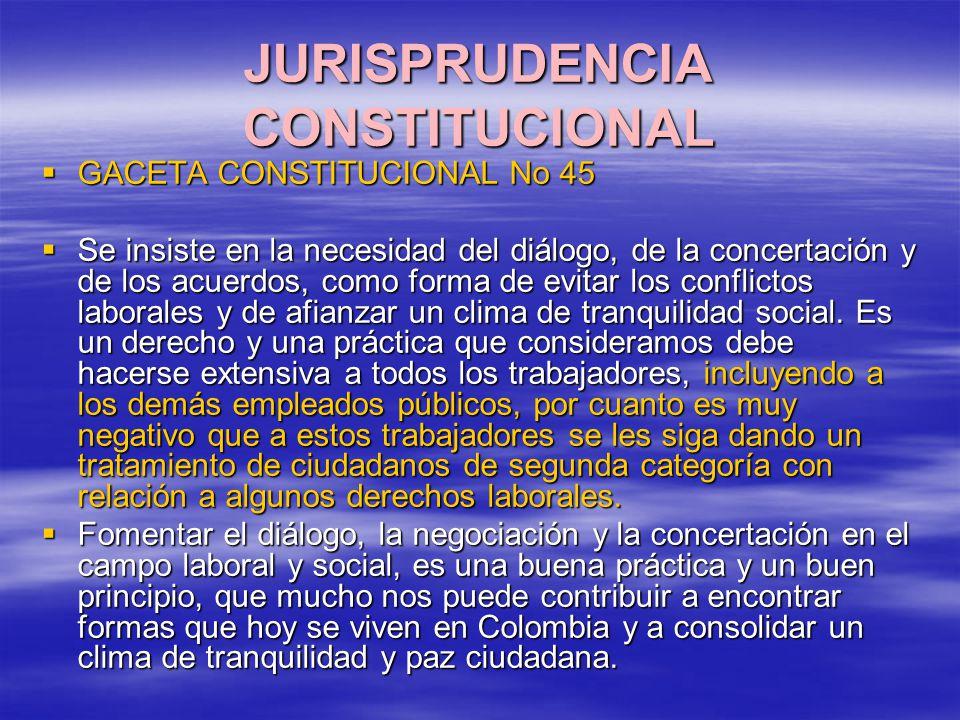 JURISPRUDENCIA CONSTITUCIONAL GACETA CONSTITUCIONAL No 45 GACETA CONSTITUCIONAL No 45 Se insiste en la necesidad del diálogo, de la concertación y de