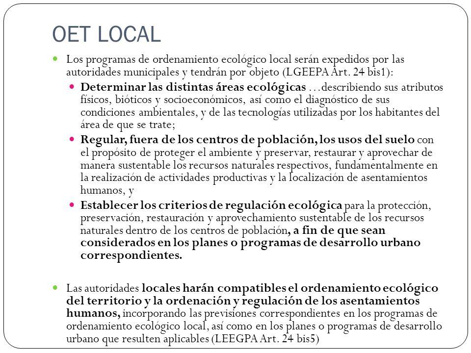 OET LOCAL Los programas de ordenamiento ecológico local serán expedidos por las autoridades municipales y tendrán por objeto (LGEEPA Art. 24 bis1): De