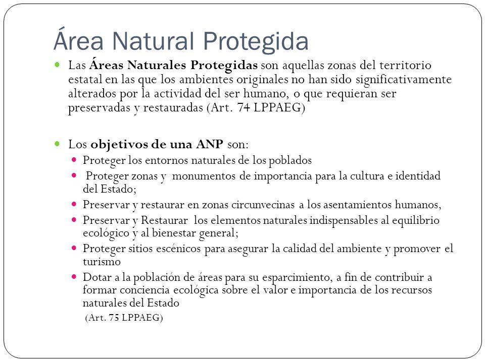 Área Natural Protegida Las Áreas Naturales Protegidas son aquellas zonas del territorio estatal en las que los ambientes originales no han sido significativamente alterados por la actividad del ser humano, o que requieran ser preservadas y restauradas (Art.
