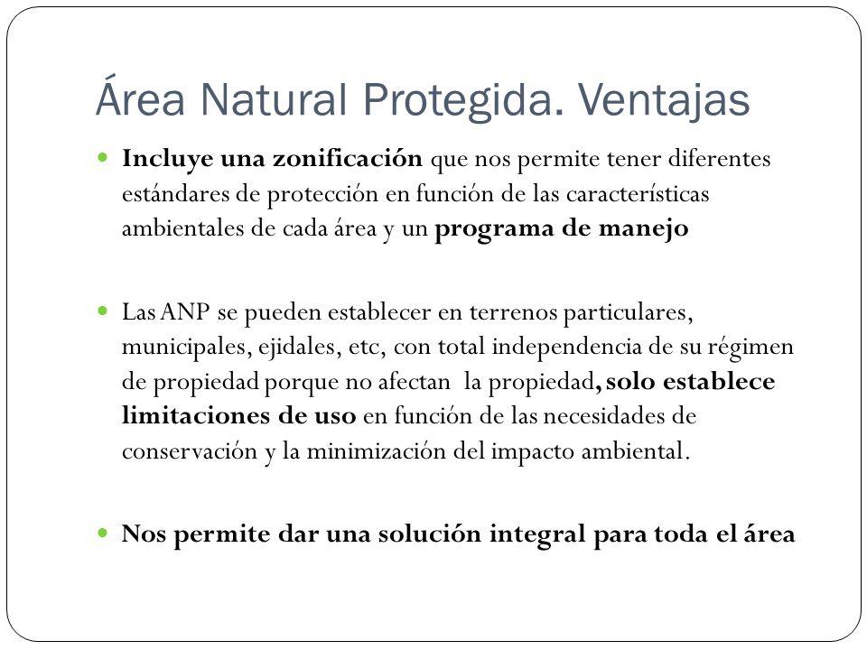 Área Natural Protegida. Ventajas Incluye una zonificación que nos permite tener diferentes estándares de protección en función de las características