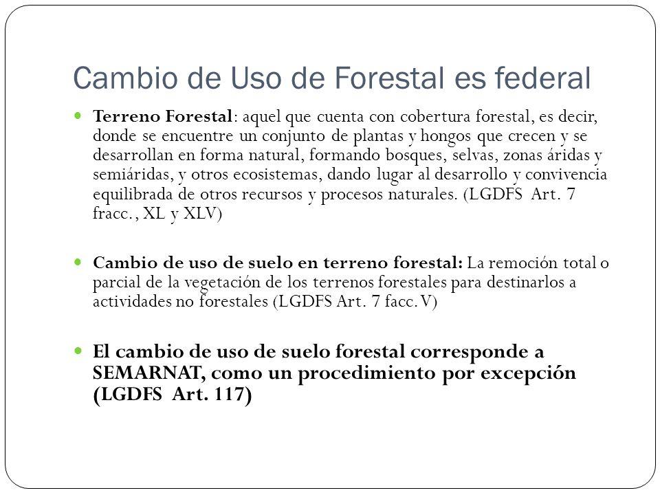 Cambio de Uso de Forestal es federal Terreno Forestal: aquel que cuenta con cobertura forestal, es decir, donde se encuentre un conjunto de plantas y
