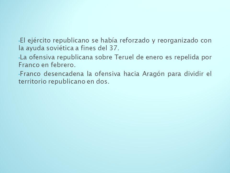 El ejército republicano se había reforzado y reorganizado con la ayuda soviética a fines del 37. La ofensiva republicana sobre Teruel de enero es repe