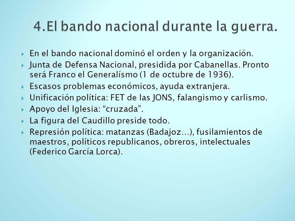 En el bando nacional dominó el orden y la organización. Junta de Defensa Nacional, presidida por Cabanellas. Pronto será Franco el Generalísmo (1 de o