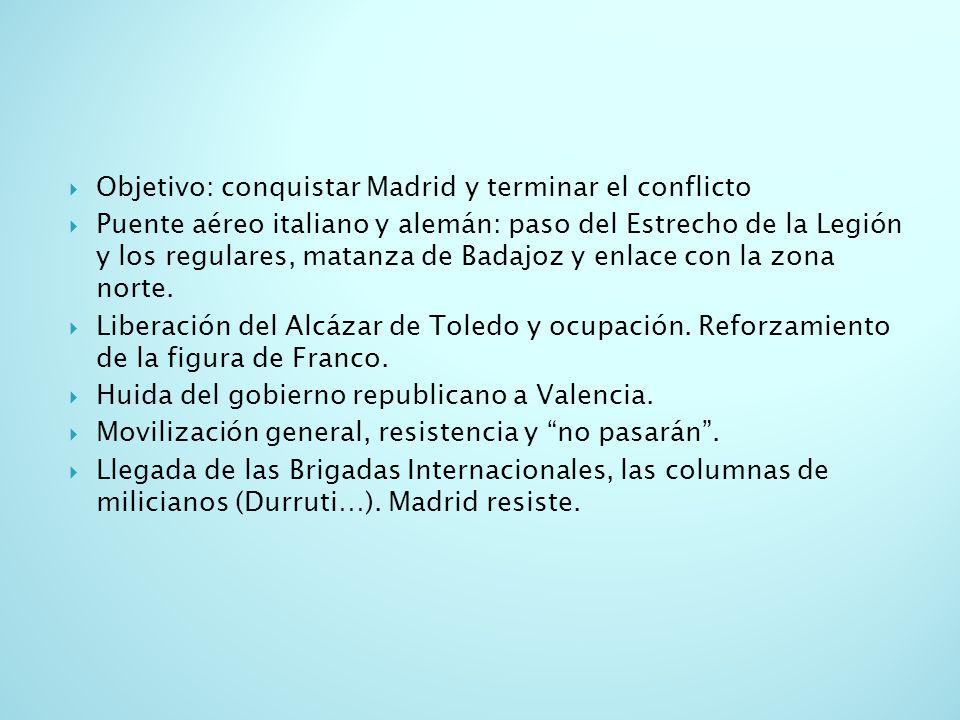 Objetivo: conquistar Madrid y terminar el conflicto Puente aéreo italiano y alemán: paso del Estrecho de la Legión y los regulares, matanza de Badajoz