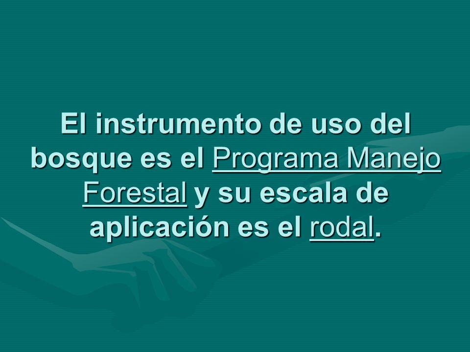 El instrumento de uso del bosque es el Programa Manejo Forestal y su escala de aplicación es el rodal.