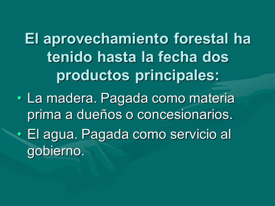 El aprovechamiento forestal ha tenido hasta la fecha dos productos principales: La madera. Pagada como materia prima a dueños o concesionarios.La made