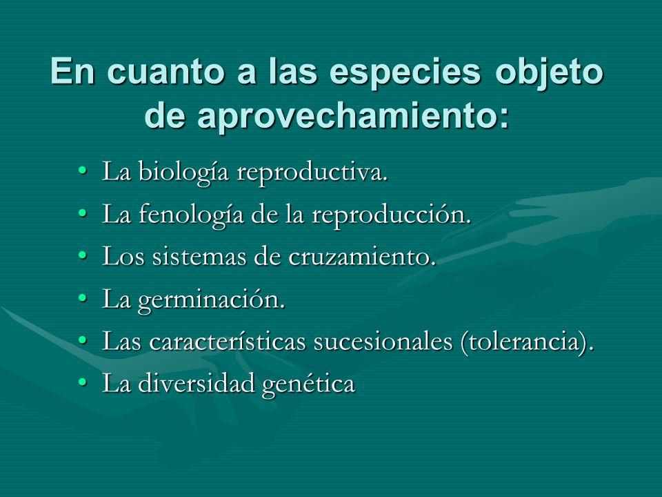 En cuanto a las especies objeto de aprovechamiento: La biología reproductiva.La biología reproductiva. La fenología de la reproducción.La fenología de