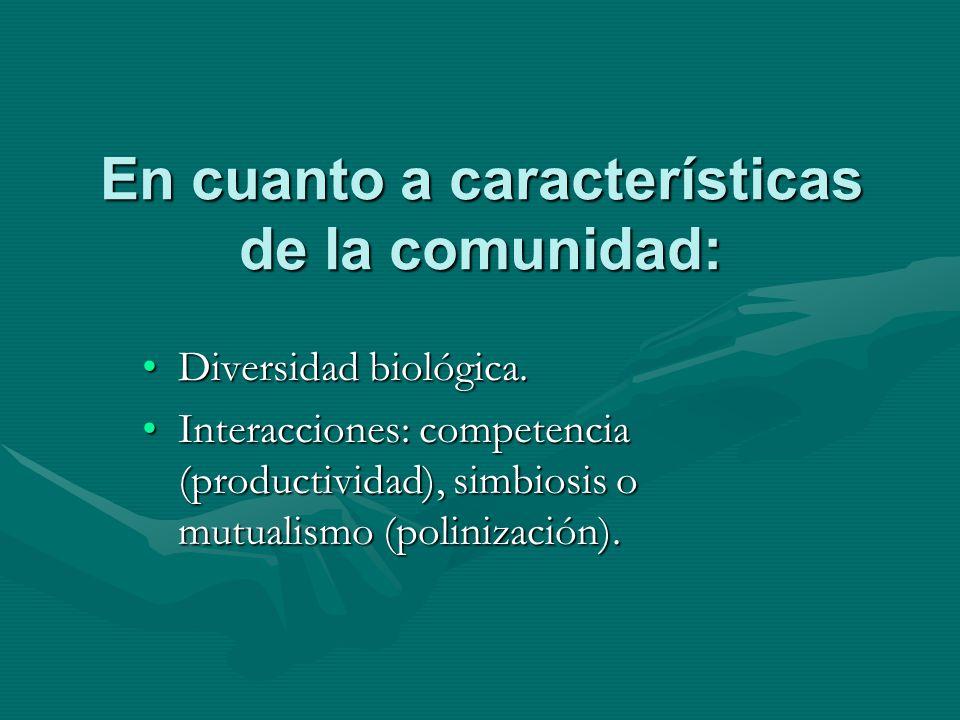 En cuanto a características de la comunidad: Diversidad biológica.Diversidad biológica. Interacciones: competencia (productividad), simbiosis o mutual