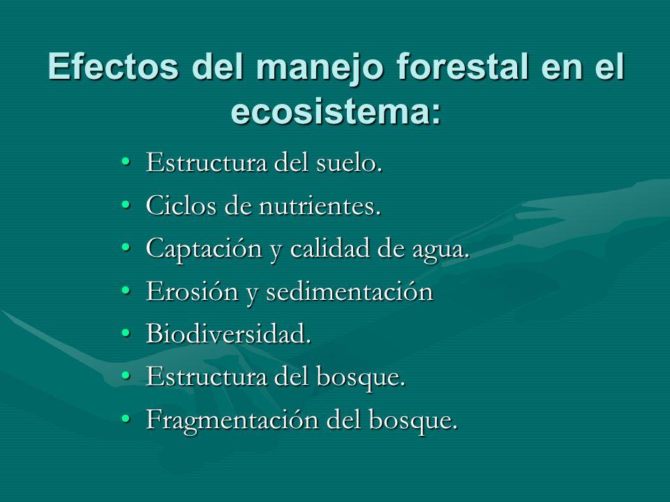 Efectos del manejo forestal en el ecosistema: Estructura del suelo.Estructura del suelo. Ciclos de nutrientes.Ciclos de nutrientes. Captación y calida