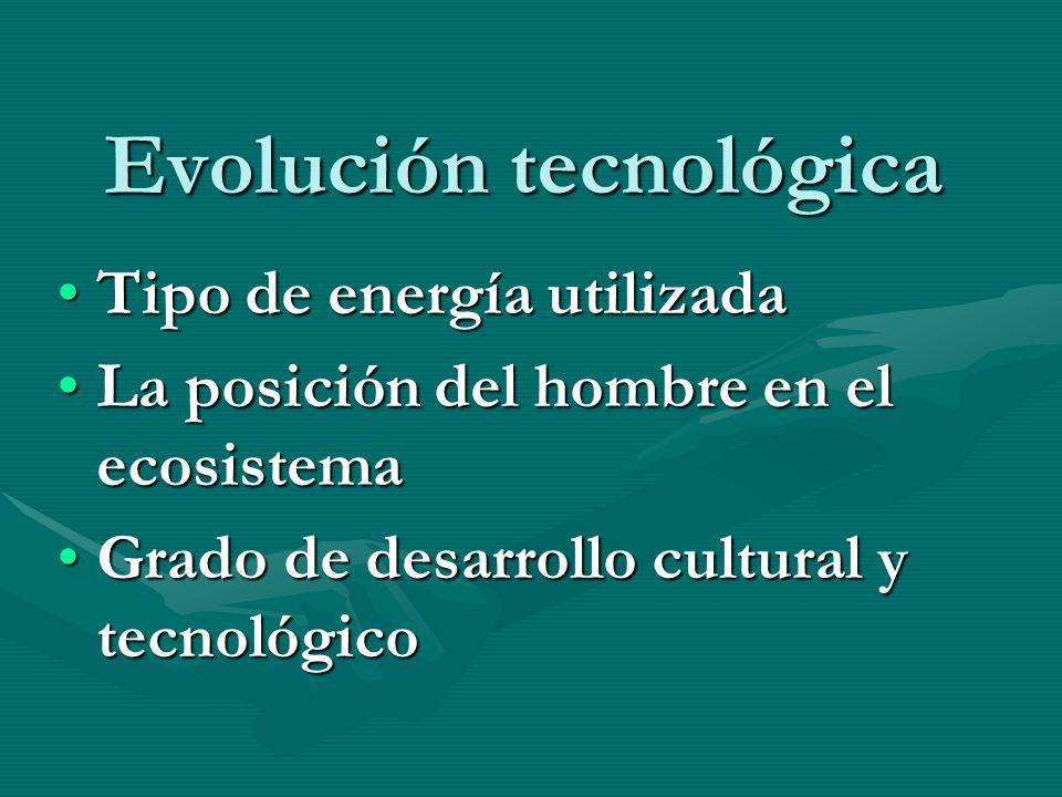 Evolución tecnológica Tipo de energía utilizadaTipo de energía utilizada La posición del hombre en el ecosistemaLa posición del hombre en el ecosistem