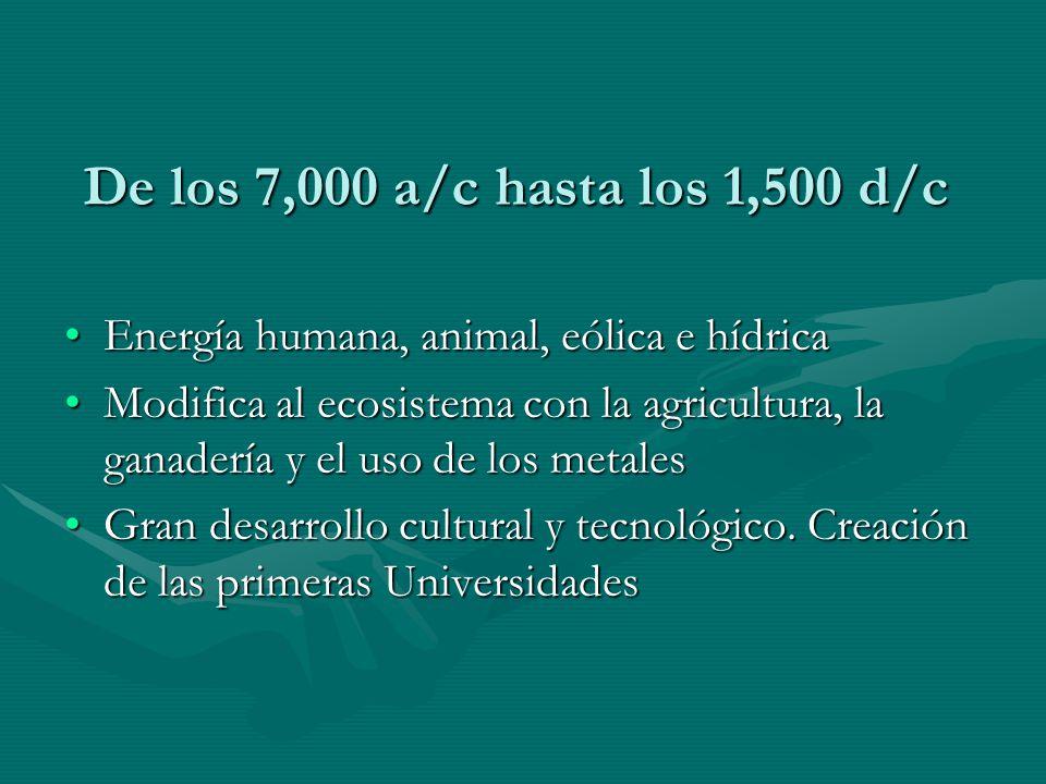 De los 7,000 a/c hasta los 1,500 d/c Energía humana, animal, eólica e hídricaEnergía humana, animal, eólica e hídrica Modifica al ecosistema con la ag