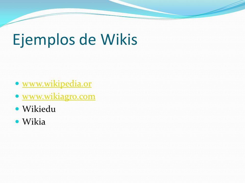 Ejemplos de Wikis www.wikipedia.or www.wikiagro.com Wikiedu Wikia