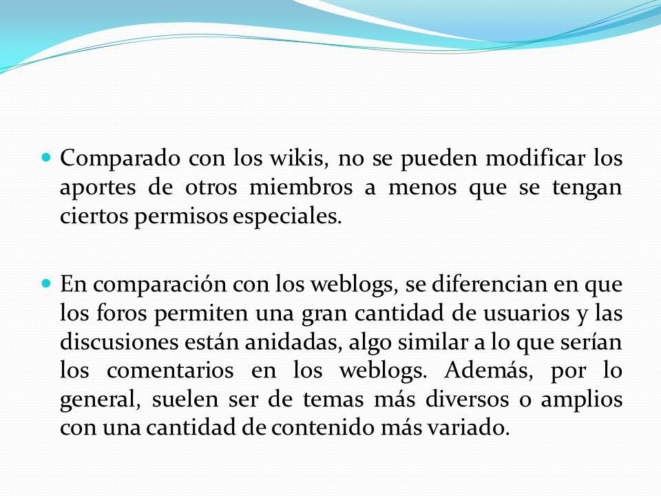 Comparado con los wikis, no se pueden modificar los aportes de otros miembros a menos que se tengan ciertos permisos especiales.