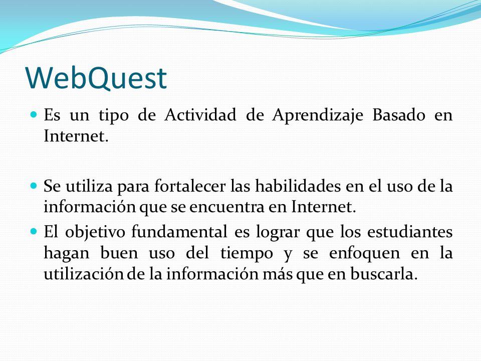 WebQuest Es un tipo de Actividad de Aprendizaje Basado en Internet.