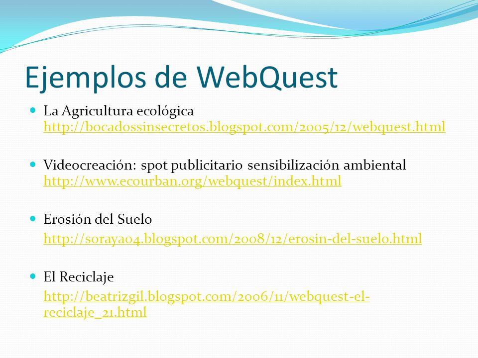 Ejemplos de WebQuest La Agricultura ecológica http://bocadossinsecretos.blogspot.com/2005/12/webquest.html http://bocadossinsecretos.blogspot.com/2005/12/webquest.html Videocreación: spot publicitario sensibilización ambiental http://www.ecourban.org/webquest/index.html http://www.ecourban.org/webquest/index.html Erosión del Suelo http://soraya04.blogspot.com/2008/12/erosin-del-suelo.html El Reciclaje http://beatrizgil.blogspot.com/2006/11/webquest-el- reciclaje_21.html