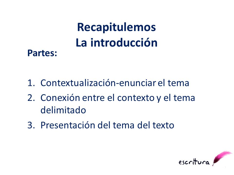 Partes: 1.Contextualización-enunciar el tema 2.Conexión entre el contexto y el tema delimitado 3.Presentación del tema del texto Recapitulemos La intr