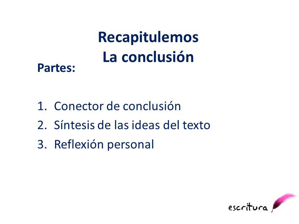 Partes: 1.Conector de conclusión 2.Síntesis de las ideas del texto 3.Reflexión personal Recapitulemos La conclusión