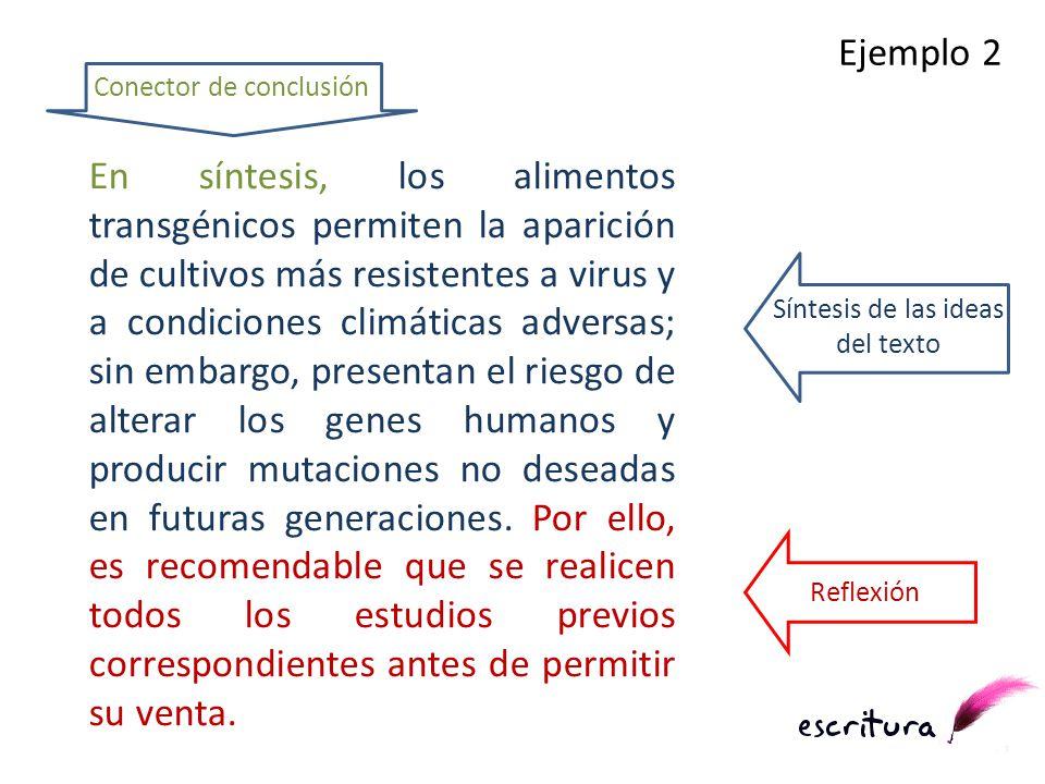 En síntesis, los alimentos transgénicos permiten la aparición de cultivos más resistentes a virus y a condiciones climáticas adversas; sin embargo, pr