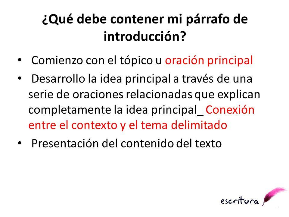 ¿Qué debe contener mi párrafo de introducción? Comienzo con el tópico u oración principal Desarrollo la idea principal a través de una serie de oracio