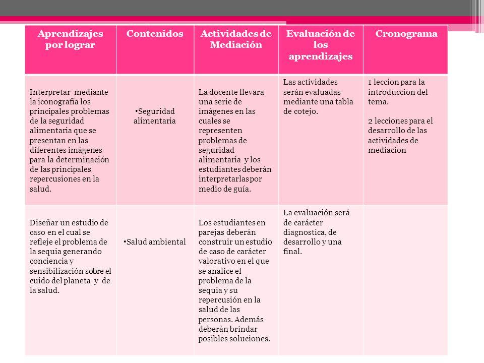 Aprendizajes por lograr ContenidosActividades de Mediación Evaluación de los aprendizajes Cronograma Interpretar mediante la iconografía los principal