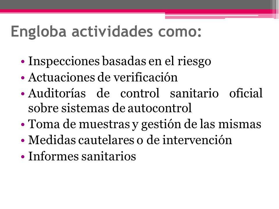 Engloba actividades como: Inspecciones basadas en el riesgo Actuaciones de verificación Auditorías de control sanitario oficial sobre sistemas de auto