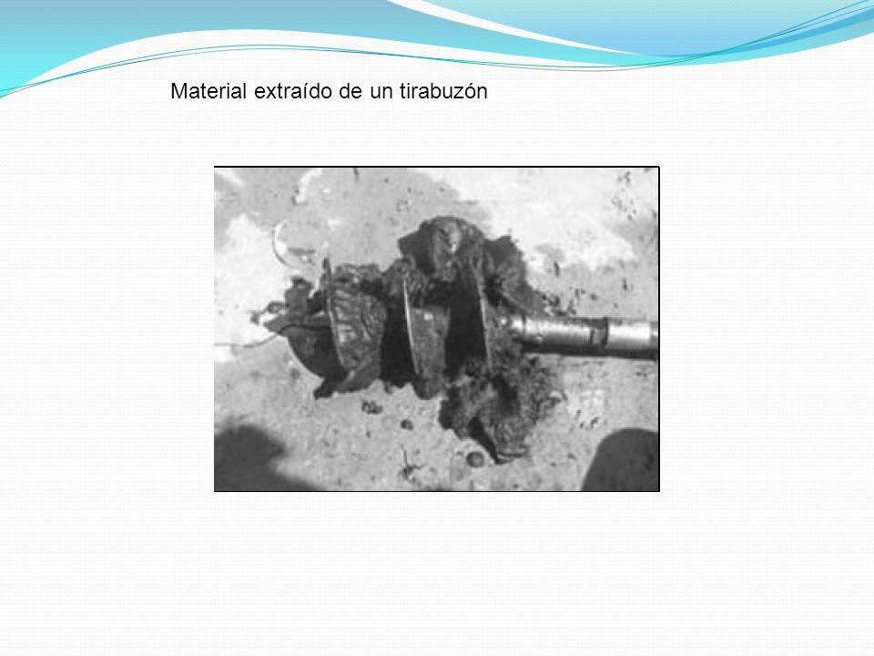 Material extraído de un tirabuzón