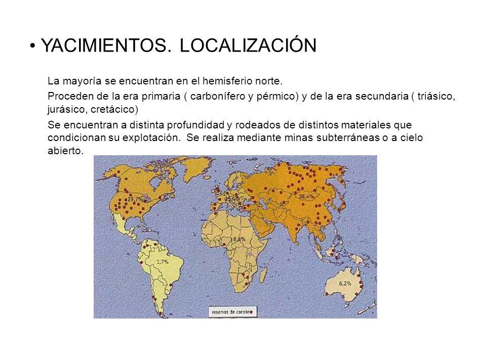 YACIMIENTOS.LOCALIZACIÓN La mayoría se encuentran en el hemisferio norte.