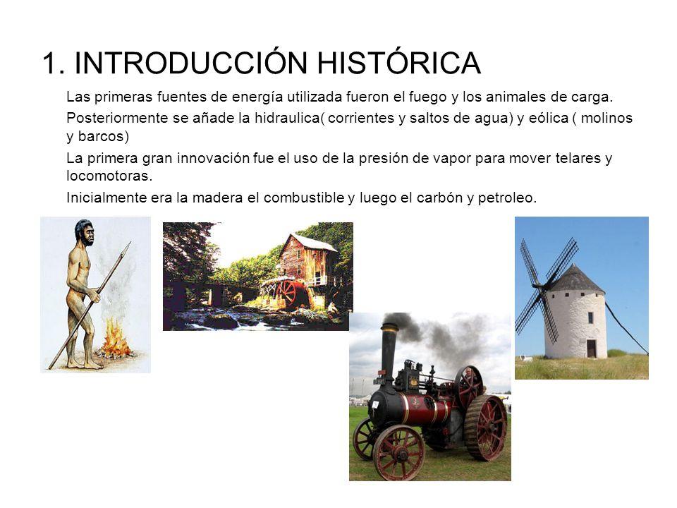 1. INTRODUCCIÓN HISTÓRICA Las primeras fuentes de energía utilizada fueron el fuego y los animales de carga. Posteriormente se añade la hidraulica( co