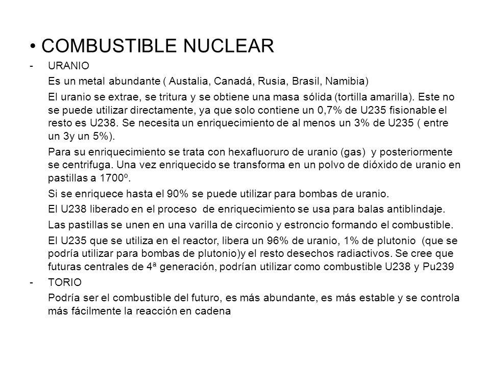 COMBUSTIBLE NUCLEAR -URANIO Es un metal abundante ( Austalia, Canadá, Rusia, Brasil, Namibia) El uranio se extrae, se tritura y se obtiene una masa sólida (tortilla amarilla).